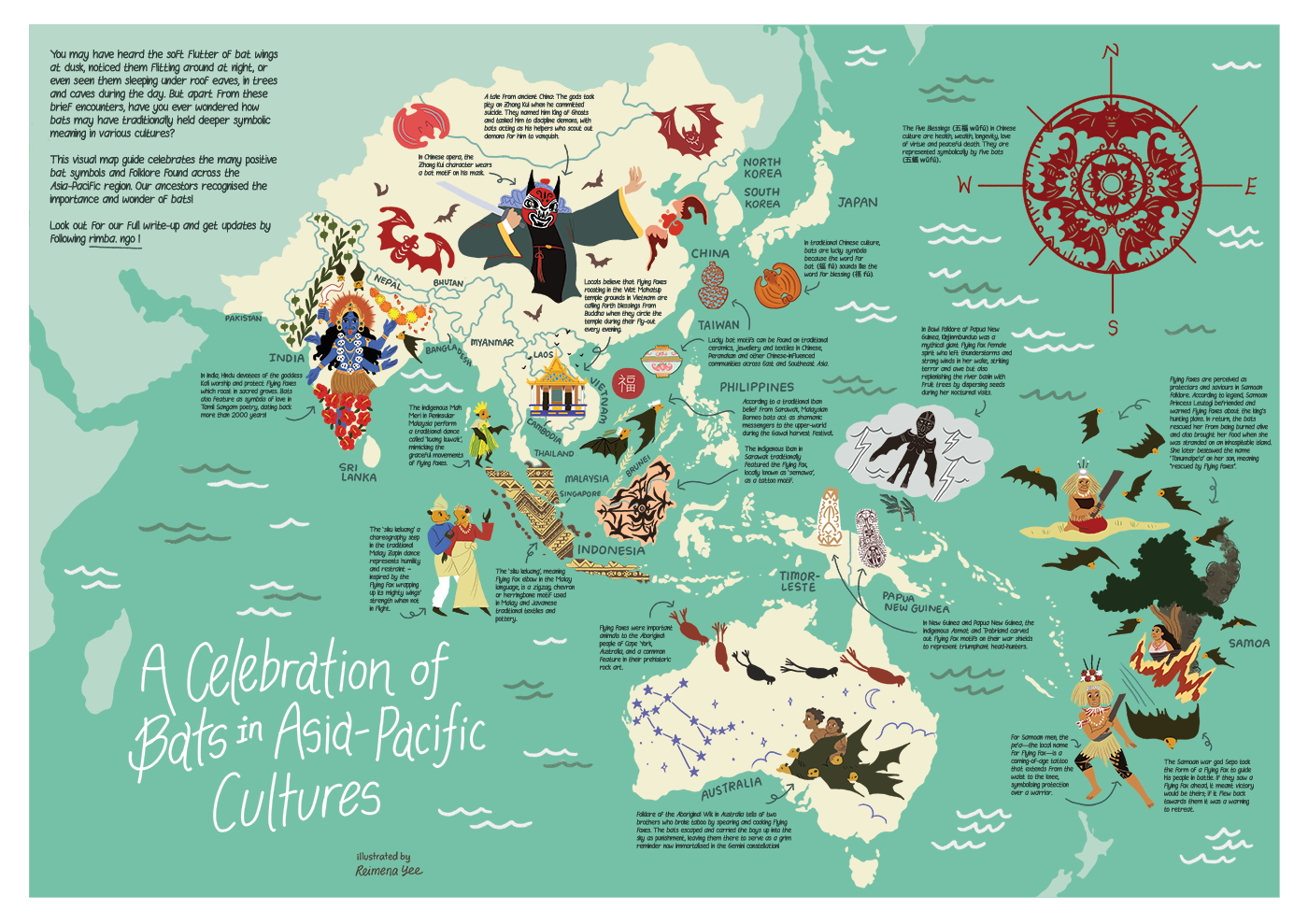Illustrated map of bats in Asia Pacific cultures