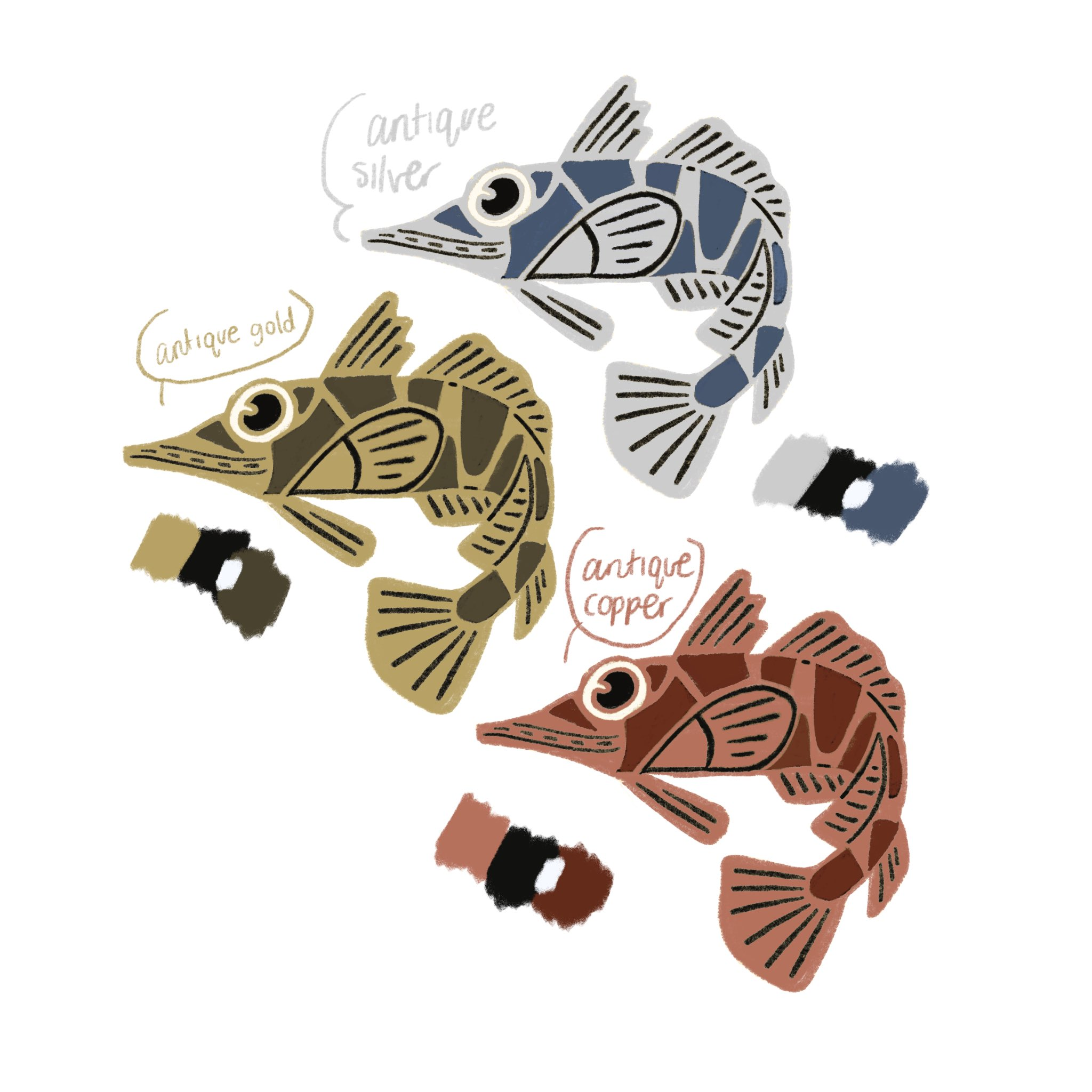 Icefish enamel pins designed for Bizarre Beasts