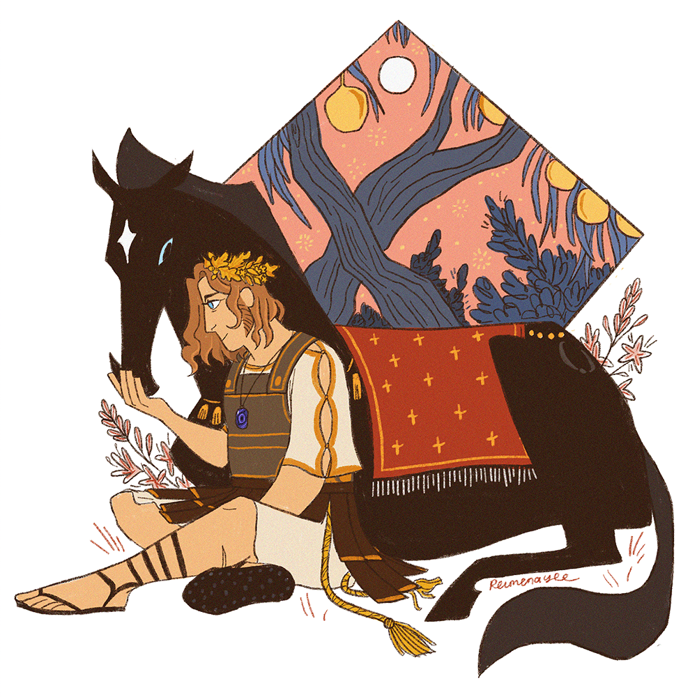 Alexander the Great is seated cross-legged and holds his right palm out for his horse Bucephalus\'s snout. Bucephalus is all black stallion with reptilian blue eyes and a white star on his forehead, with a red rug on his back and gold accessories around his neck and rump. Alexander wears a gold oak-and-myrtle wreath, leather armour over an off-white elbow-length-sleeved chiton, and midcalf high sandals. The background is contained within a diamond shape: it depicts a pink sky and a full moon, seen through the trunks and narrow leaves of trees bearing golden fruit.